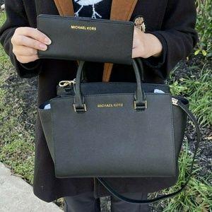 MICHAEL KORS SELMA MD LEATHER SATCHEL Bag+Wallet